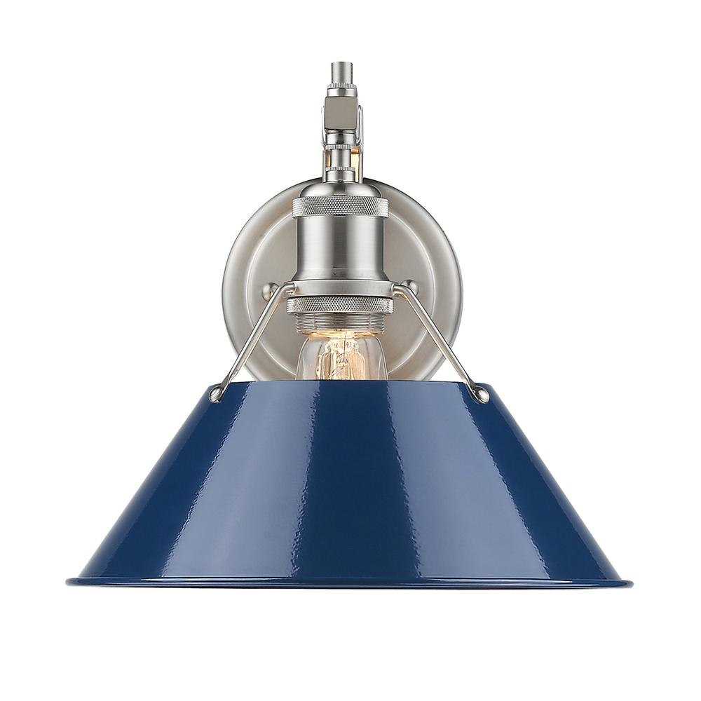 Golden Lighting Orwell Pw 1 Light Pewter Sconce With Navy Blue Shade