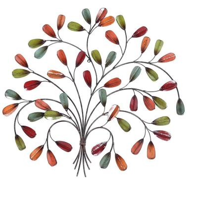 27.25 in. H Leaf Posy Metal Wall Outdoor Decor