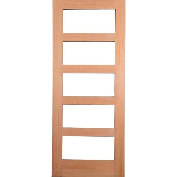 32 in. x 80 in. Contemporary Hemlock 5-Lite Clear Glass Unfinished Wood Front Door Slab