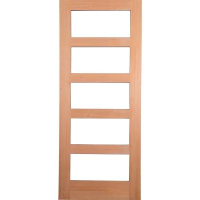 36 in. x 80 in. Contemporary Hemlock 5-Lite Clear Glass Unfinished Wood Front Door Slab