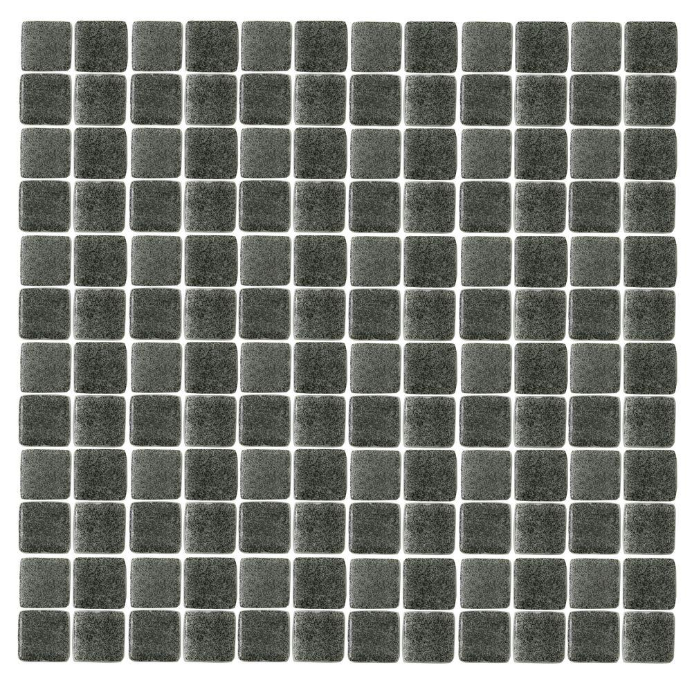 Spongez S-Black-1412 Mosiac Recycled Glass Mesh Mounted Floor and Wall Tile