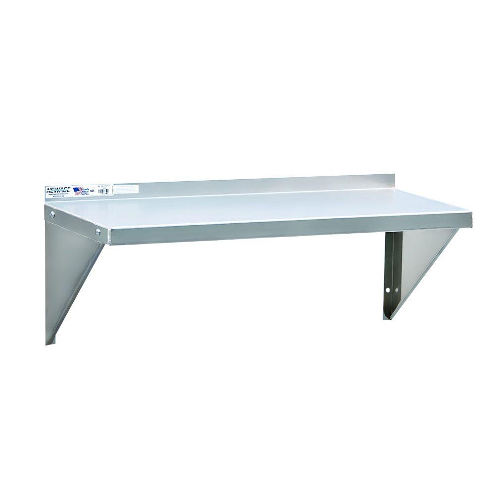 New Age Industrial 12 in. D x 60 in. L 12-Gauge Solid Aluminum Wall Shelf