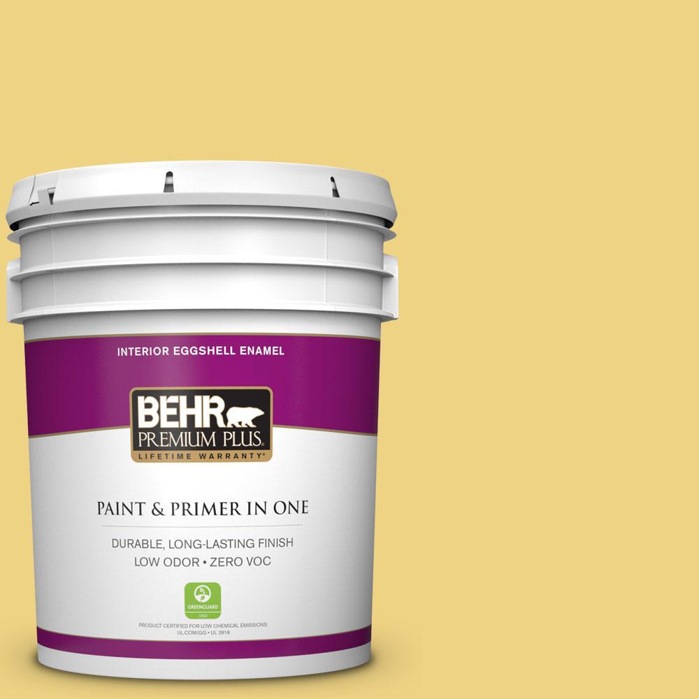 BEHR Premium Plus 5-gal. #380D-4 Feather Gold Zero VOC Eggshell Enamel Interior Paint