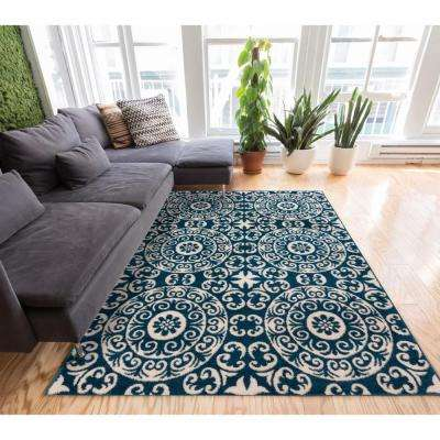 Sydney Petra Palatial Moroccan Tile Navy Blue 5 ft. x 7 ft. Modern Area Rug