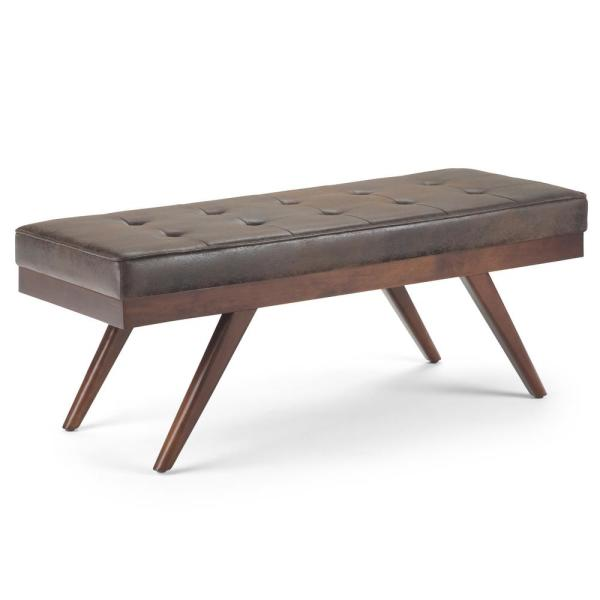 Simpli Home Pierce 48 in. Mid Century Modern Ottoman Bench in