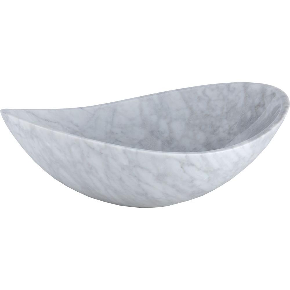 Ryvyr Oval Stone Vessel Sink Basin In Carrara White Mave158owt The Home Depot