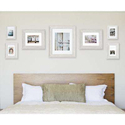 Gallery Perfect 11 in. x 14 in. Distressed White Collage Picture Frame Set
