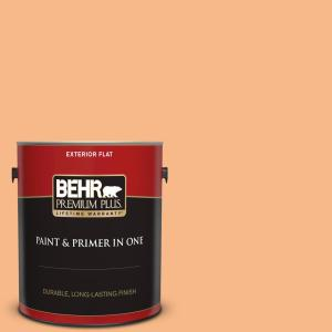 Behr Premium Plus 1 Gal 260c 3 Fresh Peaches Flat Exterior Paint And Primer In One 440001 The Home Depot