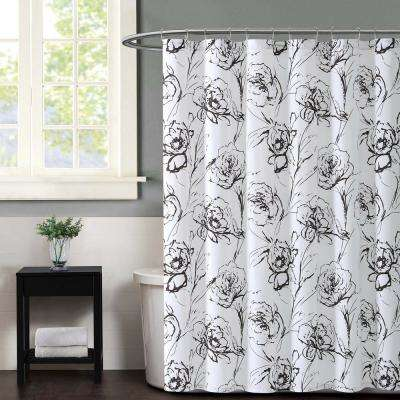 Graphic Multi Floral Printed Shower Curtain