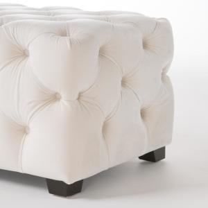 Stupendous Noble House Brianna Ivory New Velvet Tufted Ottoman 9434 Machost Co Dining Chair Design Ideas Machostcouk