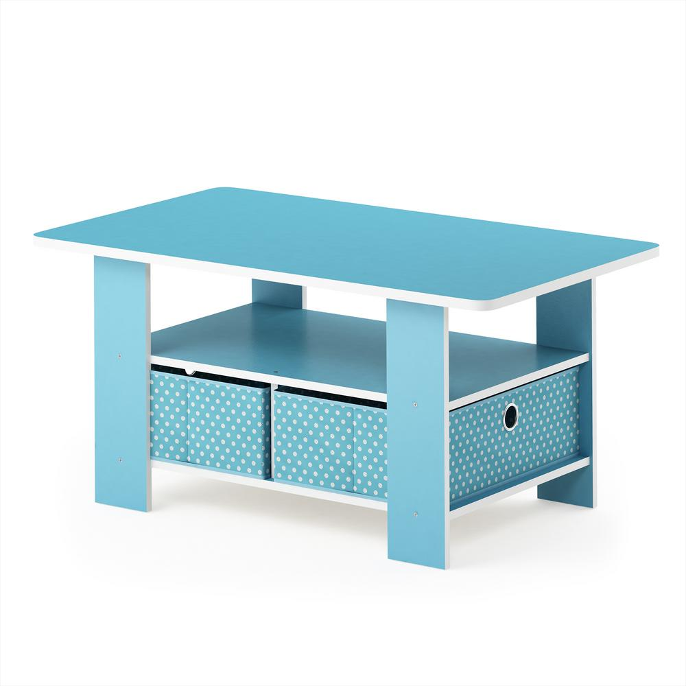 Home Living Light Blue Bin Drawer Coffee Table