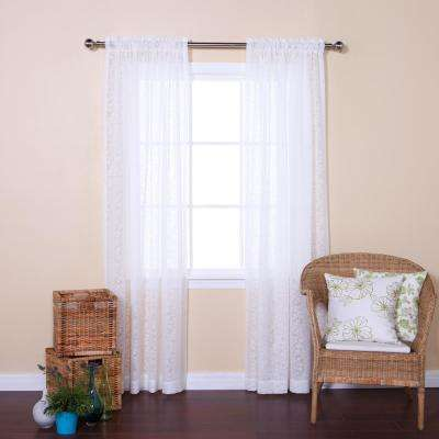 84 in. L White Branch Pattern Sheer Curtain Panel (2-Pack)