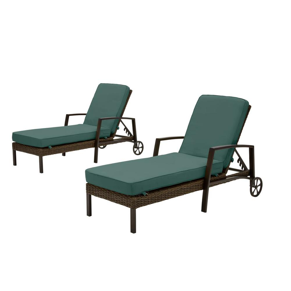 Hampton Bay Whitfield Dark Brown Wicker Outdoor Patio Chaise Lounge with CushionGuard Charleston Blue-Green Cushions (2-Pack) was $699.0 now $531.24 (24.0% off)