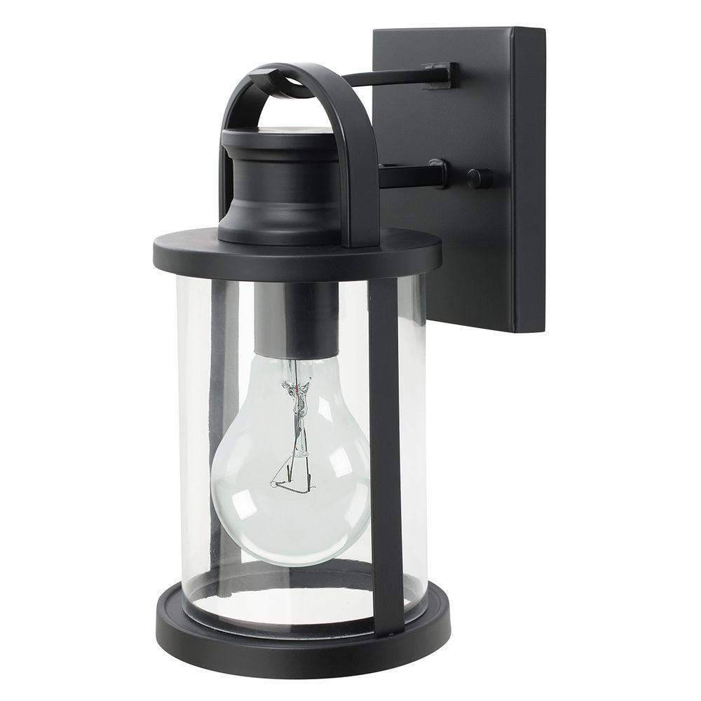 Globe Electric 11.5 in. Outdoor Black Wall Lantern with Clear Glass Shade