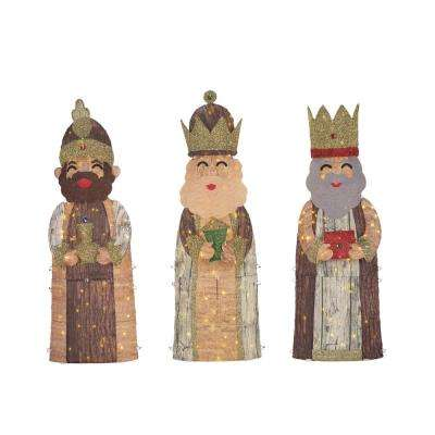 Toasty Tinsel 48 in. Christmas Warm White LED Kings (Set of 3)