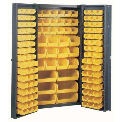 72 in. H x 38 in. W x 24 in. D Welded Steel Freestanding Storage Cabinet with 132-Bins