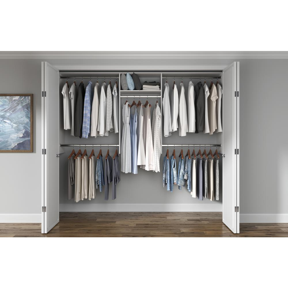 Closet Evolution Basic Hanging 60 in. W - 96 in. W White Wood Closet System