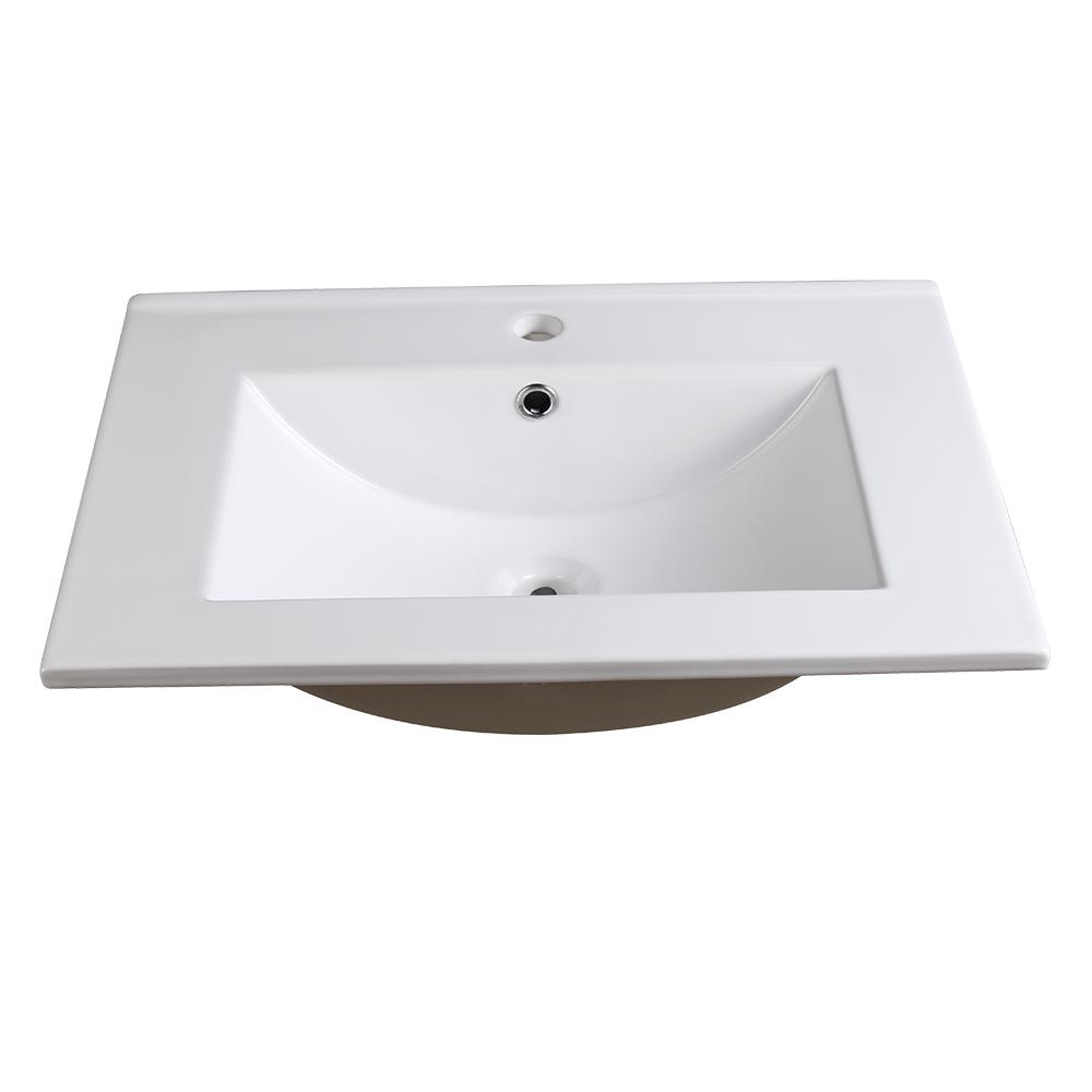Fresca Allier 24 In Drop Ceramic Bathroom Sink White With Integrated Bowl