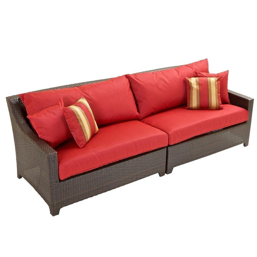 Superieur Deco Patio Sofa With Cantina Red Cushions