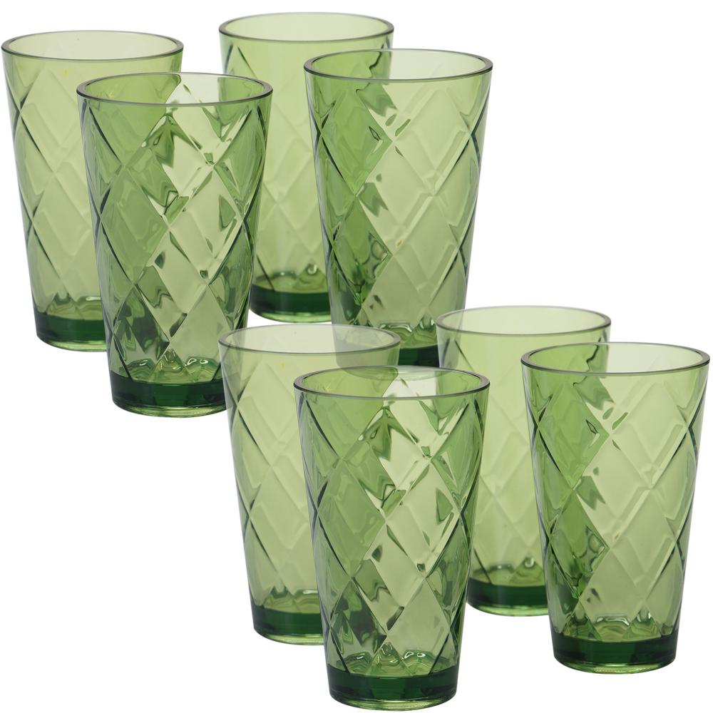 20 oz. 8-Piece Green Acrylic Ice Tea Glass