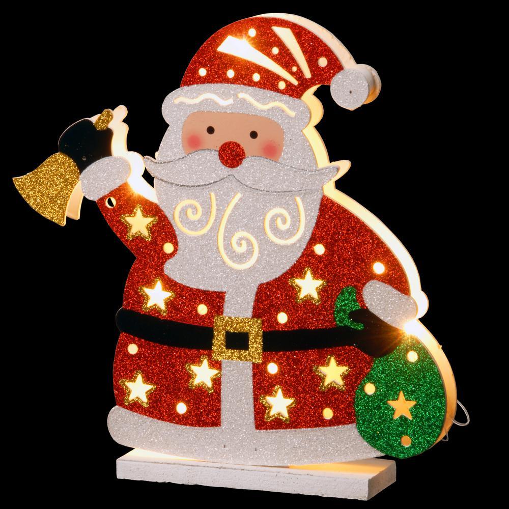 Pre-Lit 12 in. Wooden Santa