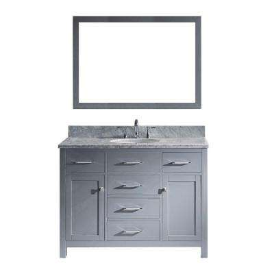 Caroline 49 in. W Bath Vanity in Gray with Marble Vanity Top in White with Round Basin and Mirror