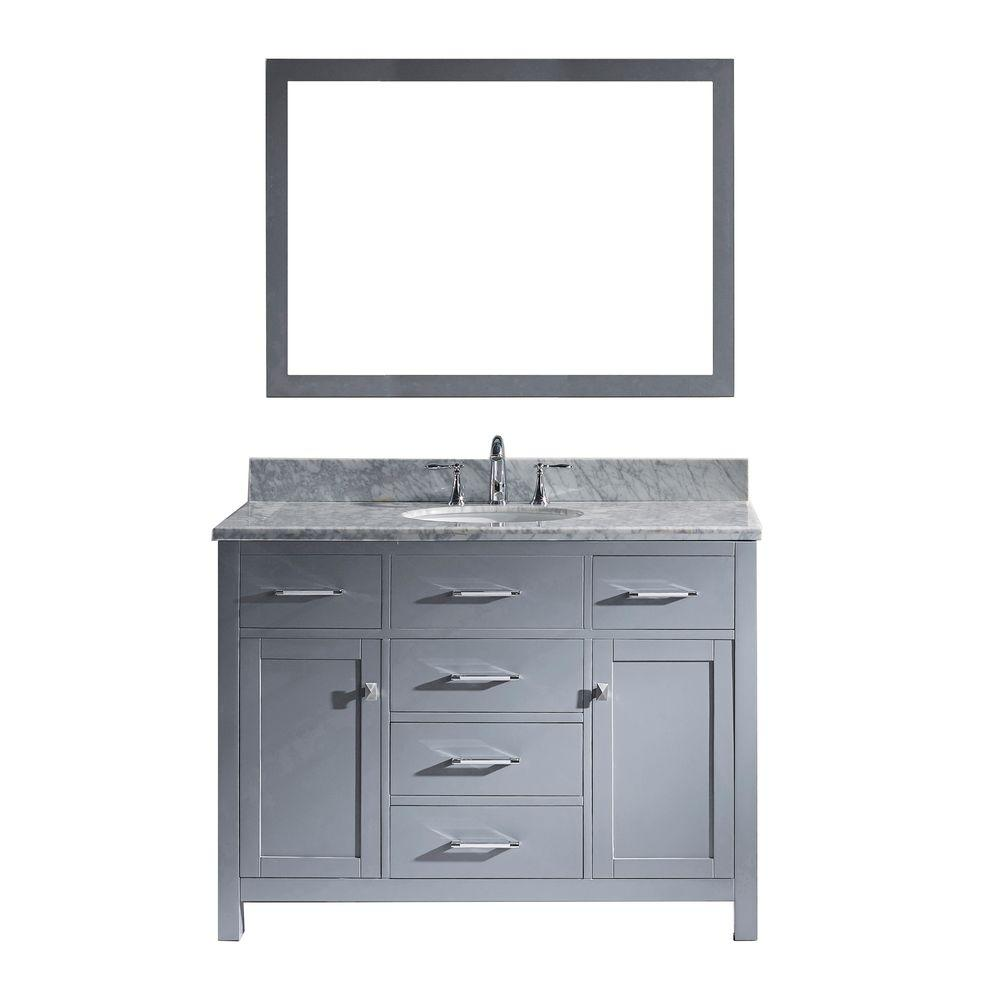 Virtu USA Caroline 49 in. W Bath Vanity in Gray with Marb...