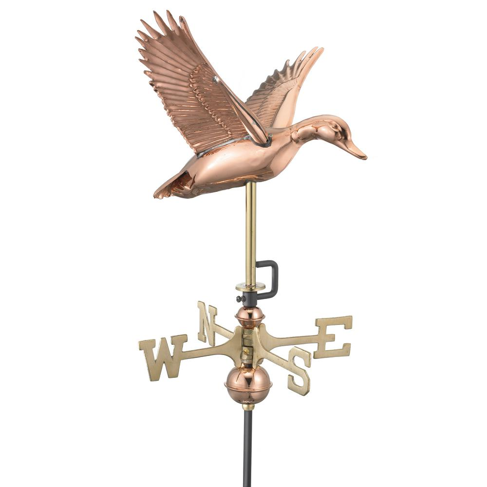 Flying Duck Cottage Weathervane - Pure Copper with Roof Mount