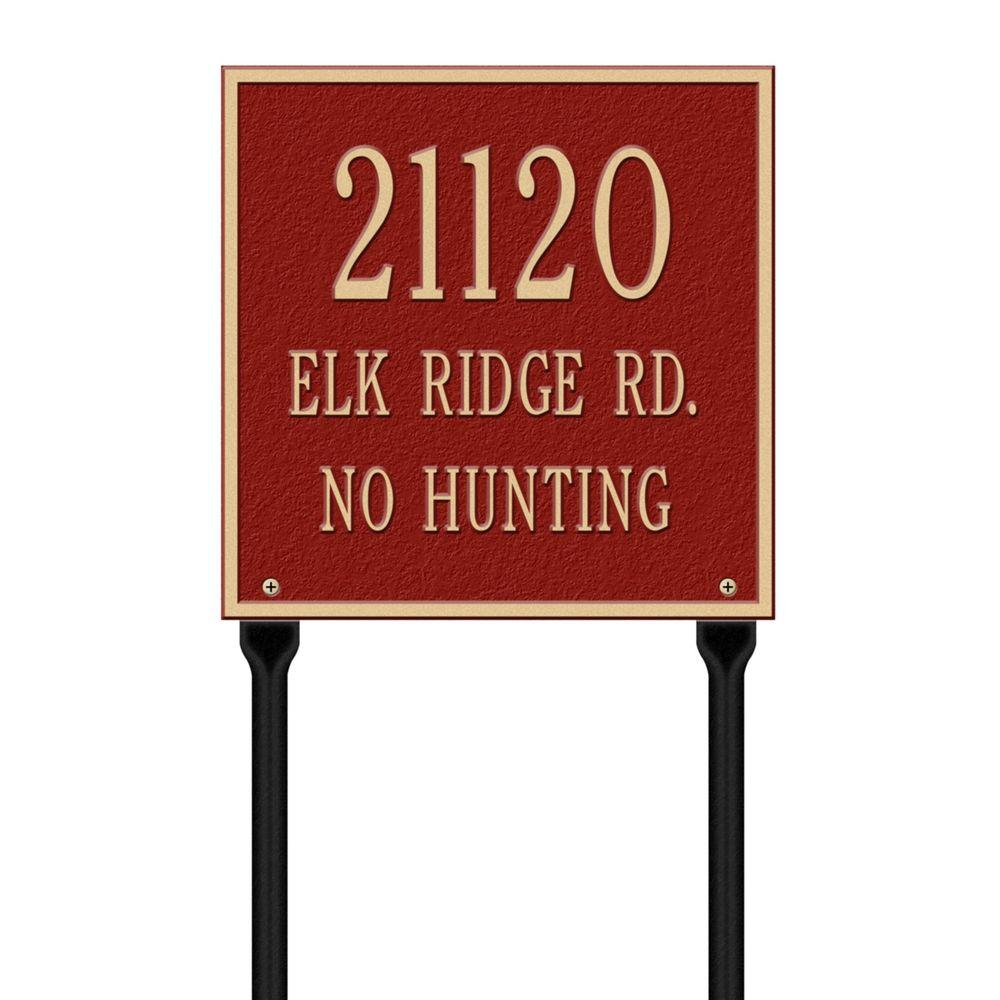 Whitehall Products Square Standard Lawn 3-Line Address Plaque - Red/Gold