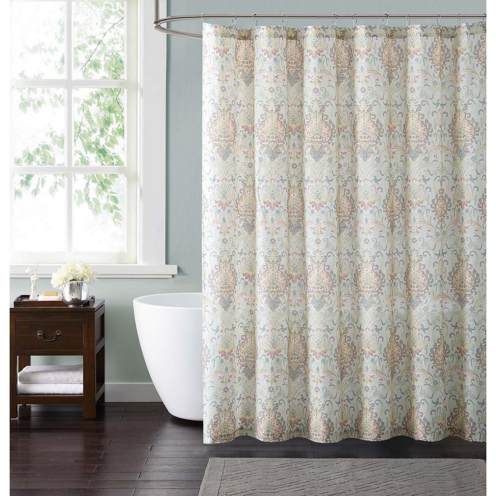 Cambridge 72 in. Ivory and Gold Shower Curtain