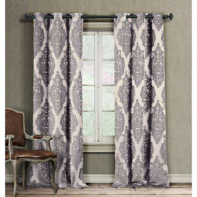 Catilie 37 in. x 84 in. L Polyester Curtain Panel in Plum (2-Pack)