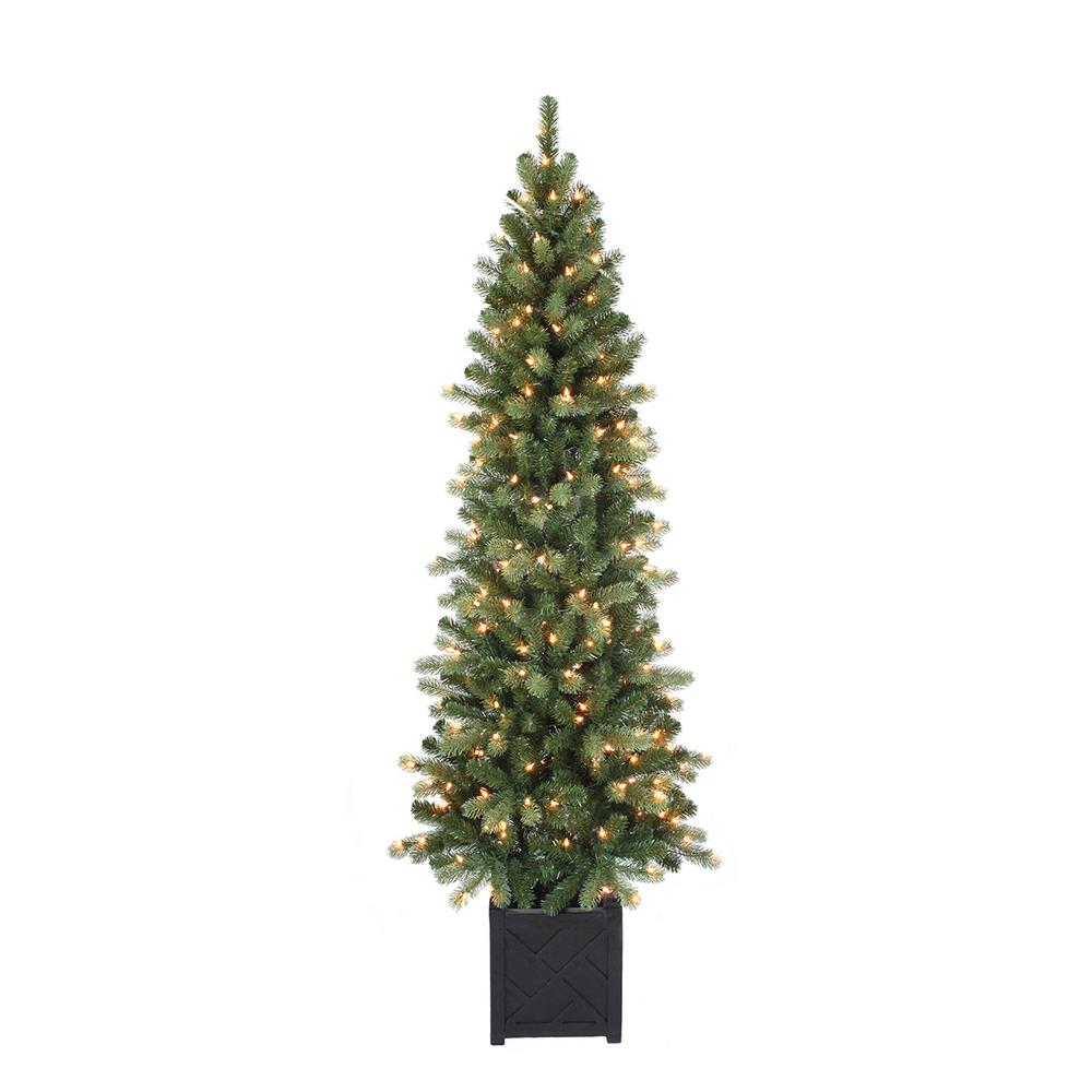 Home Accents Holiday Home Accents Holiday 6.5 ft. Pre-Lit Douglas Potted Artificial Christmas Tree with 200 Clear Lights