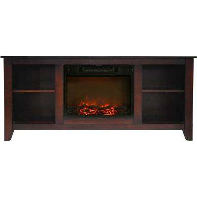 Santa Monica 63 in. Electric Fireplace and Entertainment Stand in Mahogany with 1500-Watt Charred Log Insert