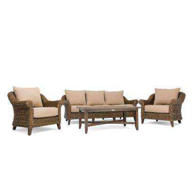 Bahamas Wicker 4-Piece Outdoor Sofa Seating Set with Sunbrella Canvas Heather Beige Cushion