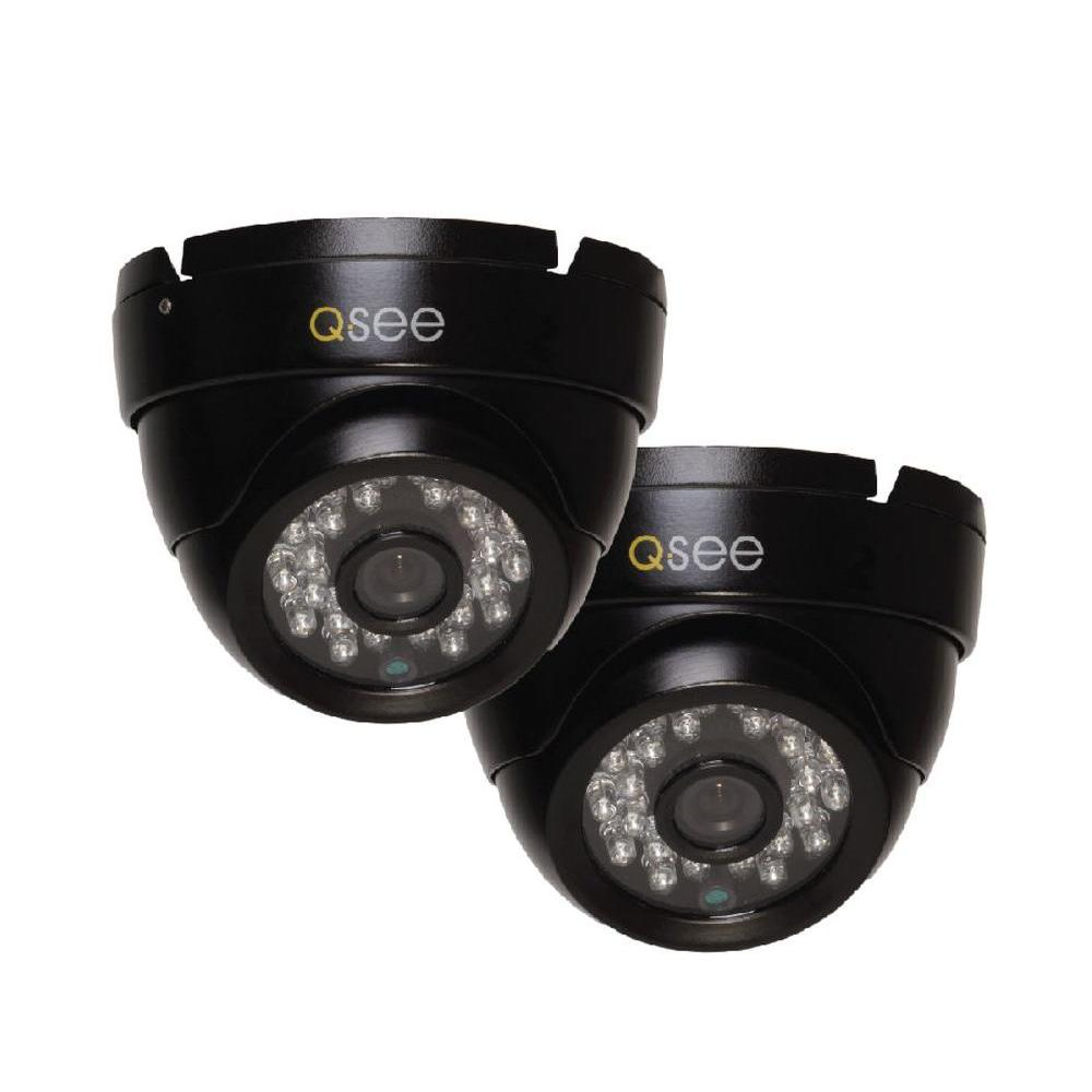 Q-SEE Wired 720p Indoor or Outdoor HD Dome Standard Surveillance Camera with 100 ft. Night Vision (2-Pack)