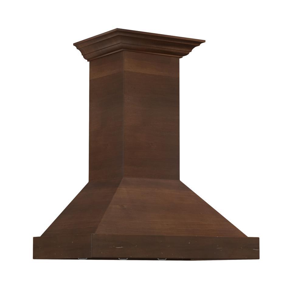 Zline Kitchen And Bath Zline 36 In. 760 Cfm Designer Series Wooden Wall Mount Range Hood, Solid Wood Exterior With Stainless Steel Insert/walnut Toned Distressed Finish