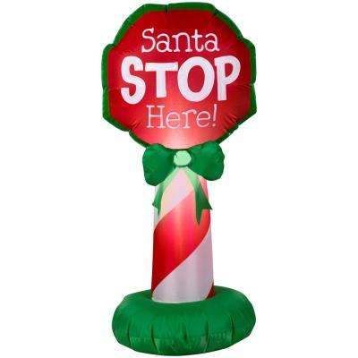 21.65 in. W x 19.29 in. D x 42.13 in. H Inflatable Airblown-Santa Stop Here Sign