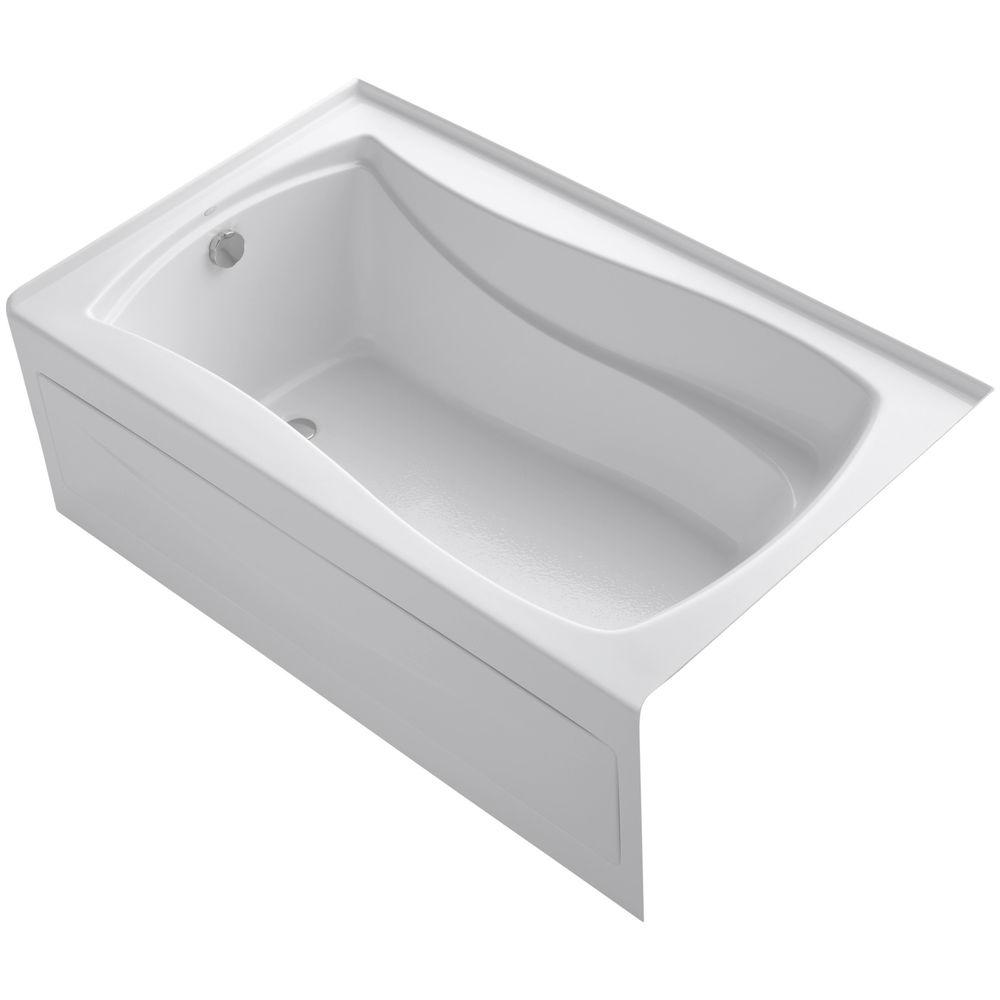 KOHLER Mariposa 5 ft. Left Drain Bathtub in White with Bask Heated ...
