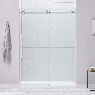 Derby 60 in. W x 78.74 in. H Frameless Sliding Shower Door in Chrome