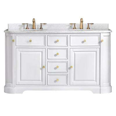 D Vanity In Pure White With Marble