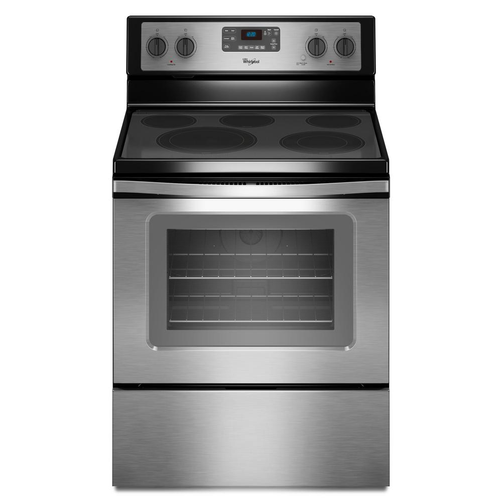Whirlpool 30 in. 5.3 cu. ft. Electric Range with Self-Cleaning Convection Oven in Stainless Steel (Silver)