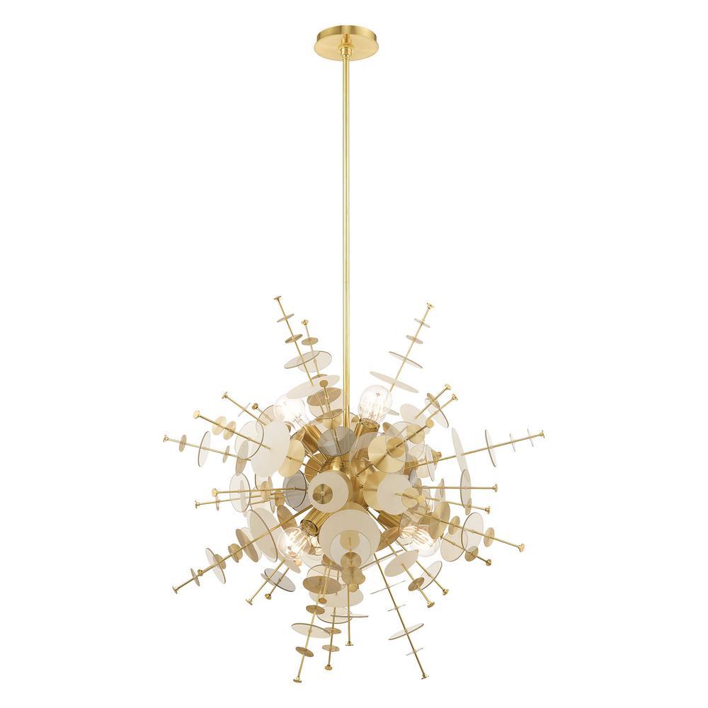 Circulo 6-Light Large Satin Brass Starburst Pendant Chandelier