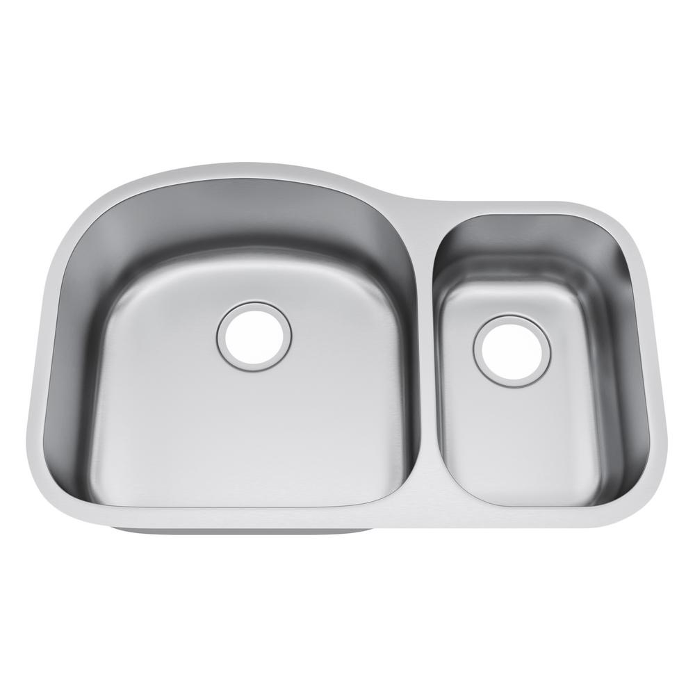 All-in-One Undermount Stainless Steel 32 in. 70/30 Double Bowl Kitchen Sink