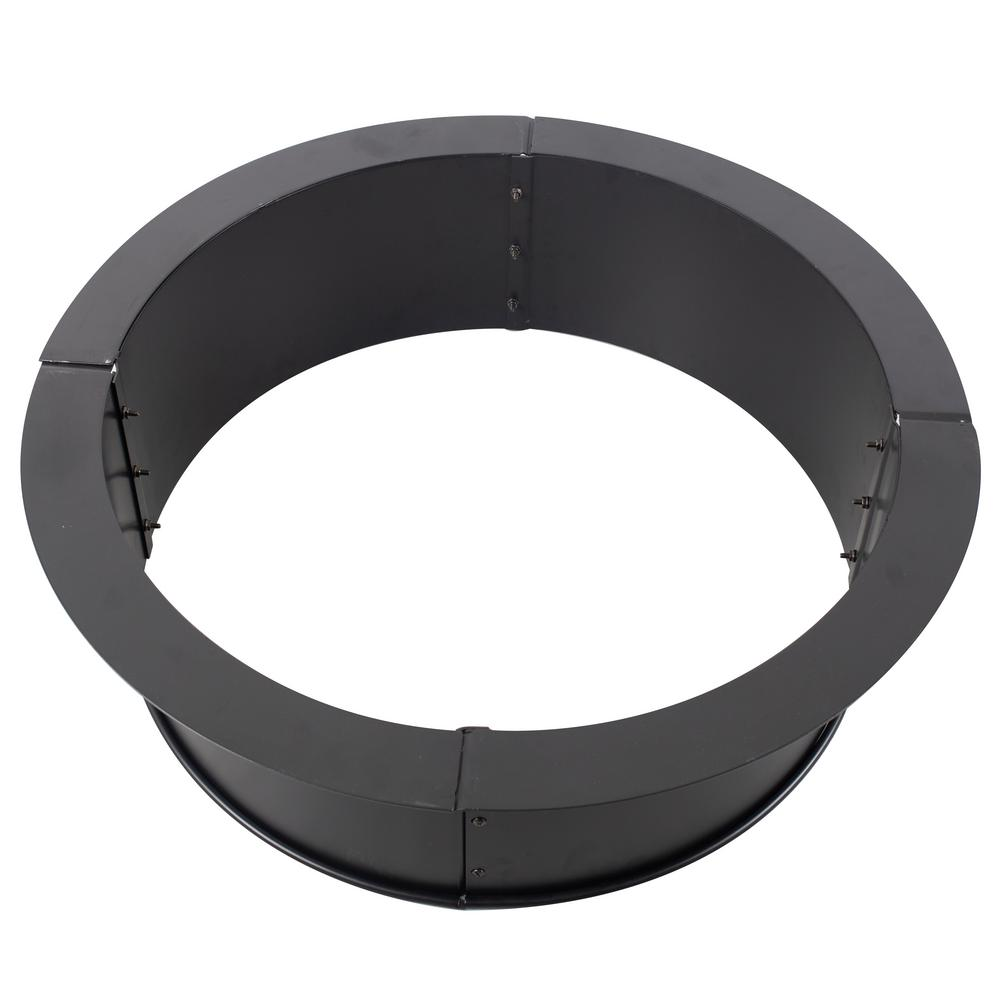 Pleasant Hearth 34 in. x 10 in. Round Solid Steel Wood Fire Ring in Black