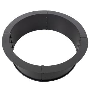 34 in. x 10 in. Round Solid Steel Wood Fire Ring in Black