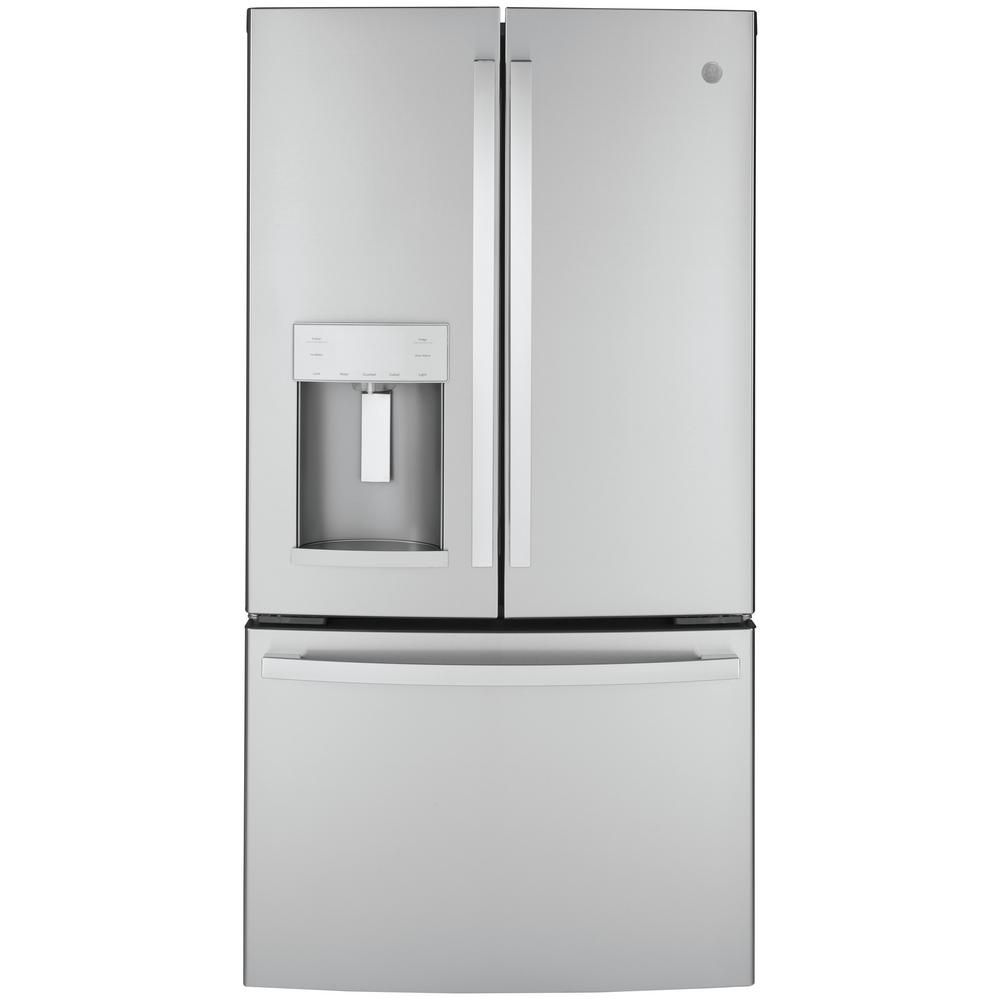 GE ENERGY STAR 22.2 Cu. Ft. Stainless Steel Counter-Depth French-Door Refrigerator GYE22GYNFS
