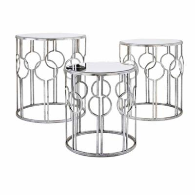 Margaret Silver Mirror Accent Tables (Set of 3)
