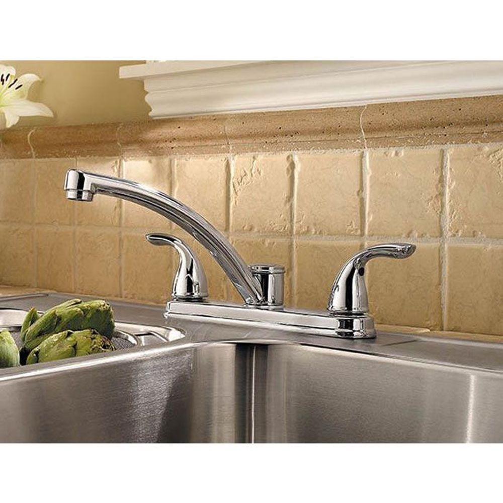 Delton 2-Handle Standard Kitchen Faucet in Polished Chrome