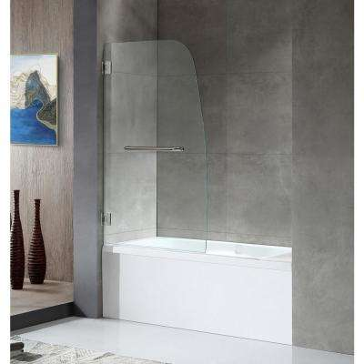 GRAND Series 34 in. x 58 in. Frameless Hinged Tub Door in Chrome with Towel Bar Handle