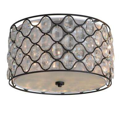 Claire 18 in. 3-Light Black and Crystal and Steel Framework Drum Flush Mount